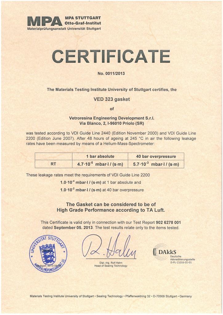 ta luft certificate 323 gasket